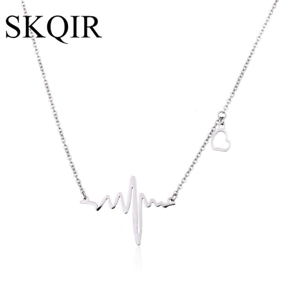 SKQIR Medical Heartbeat Schmuck Sets für Frauen Arzt Geschenk Gold / Silber Edelstahl Halskette / Armband / Ohrringe Schmuck Set