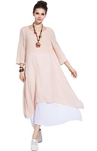 aa9c61cf58a1 Anysize Spring Summer Fake Two Piece Linen&Cotton Dress Plus Size Dress Y82  Blue Dress Girls Dresses From Hongzhang, $61.36| DHgate.Com