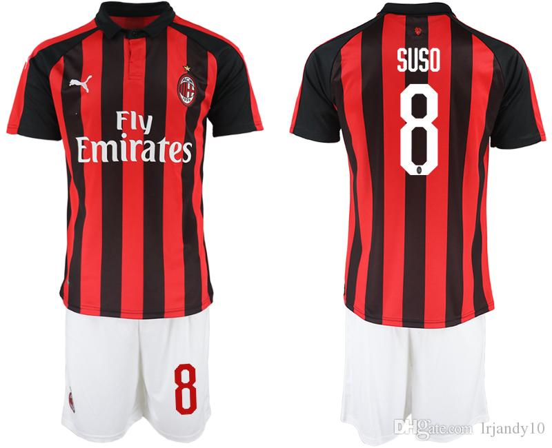 5d51a20af 2019 2018 2019 AC Milan Kids Soccer Jersey SUSO 9 HIGUAIN 10 CALHANOGLU  BONAVENTURA Custom Home Away Third Kids Football Shirt From Lrjandy10, ...