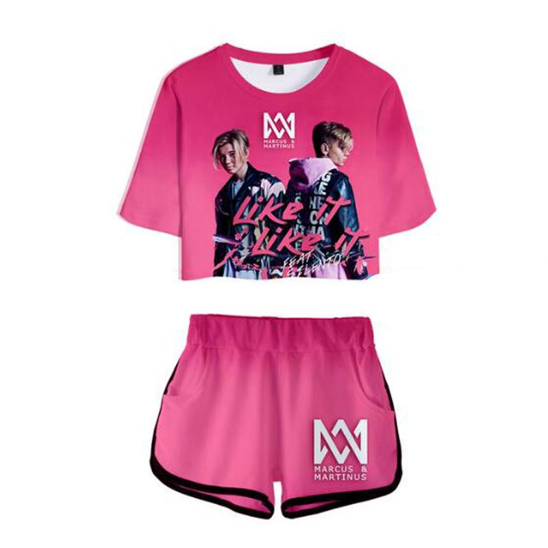 8345c5b4f40 2019 Women Two Piece Outfits Marcus And Martinus 3D Print Set Crop Top And  Short Pants Tracksuit For Women Sets Sexy Clothes From Zhouzhaoyu, ...