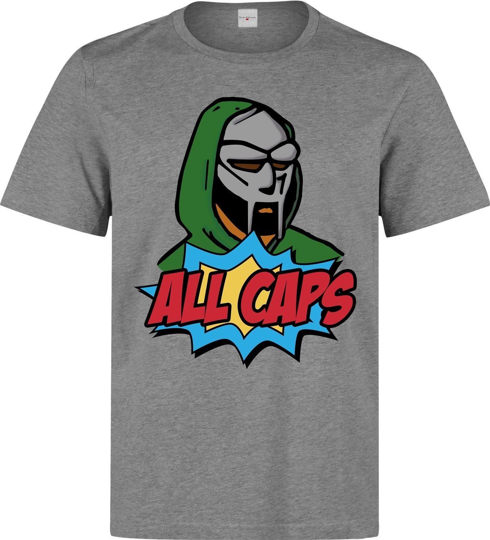 a44202b5 All Caps Mf Doom Comics Style Rap Hip-Hop Men's Printed White Cotton T-shirt  TopFunny free shipping Unisex Casual Tshirt