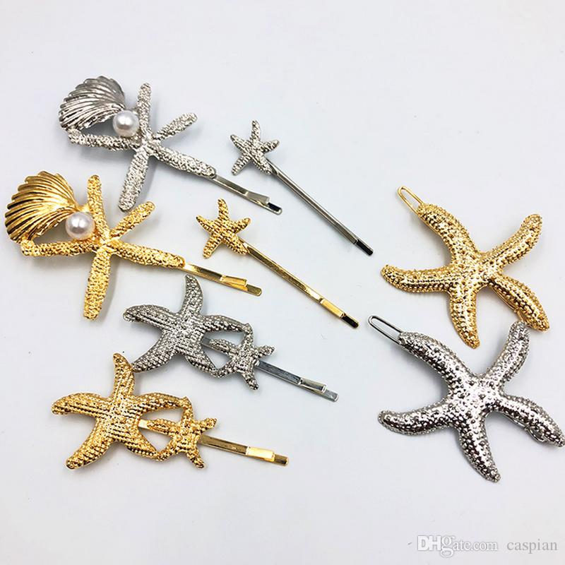 Women Starfish Shell Hair Clip Metal Starfish Barrettes Gold Silver Fashion Hair Accessories for Gift Party High Quality