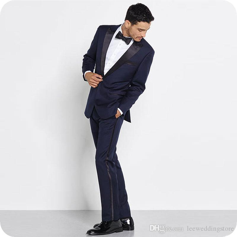 Navy Blue Men Suits For Wedding Suits Formal Slim Fit Groom Wear Blazer Custom Made Tuxedos Business Suits 2Piece Best Man Prom Jacket+Pants