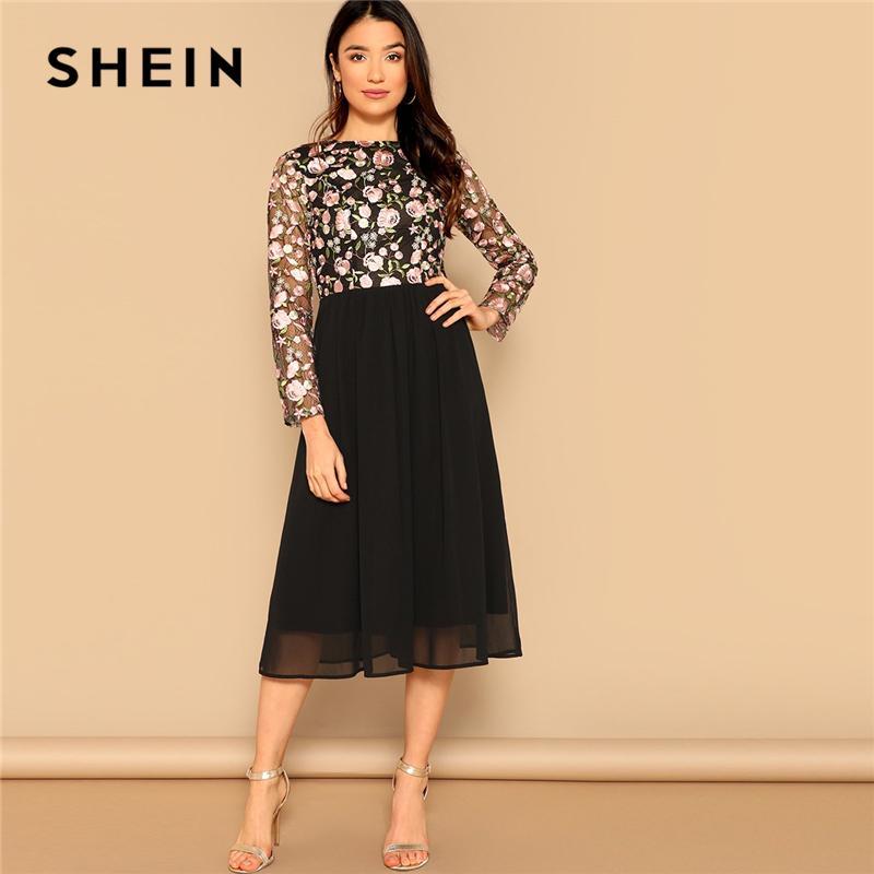 5a8829e16d SHEIN Black Elegant Floral Embroidered Mesh Fit And Flare High Waist Long  Dress Women Spring O Neck Long Sleeve A Line Dresses Online Dresses Wrap  Dresses ...