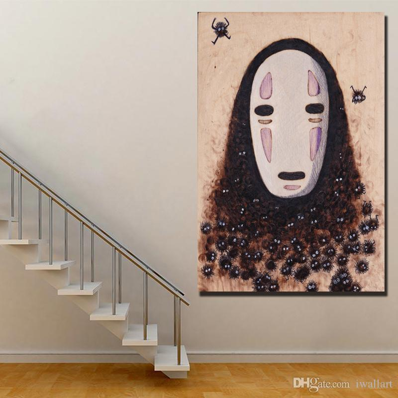 Draw No Face Spirited Away Poster Minimalist Art Canvas Print Abstract Painting Black White Wall Picture Modern Home Decoration