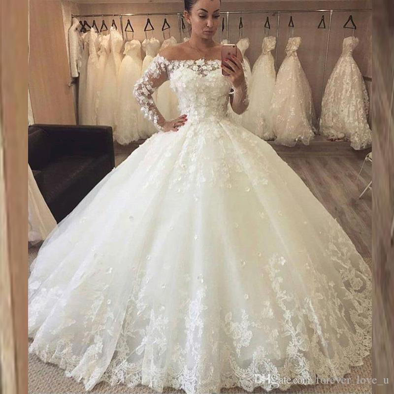 ff9baa6f90a 2019 Princess Ball Gown Wedding Dresses Off The Shoulder Illusion Long  Sleeves Charming 3D Floral Appliques Lace Bridal Gowns Pretty Dresses Tea  Length ...