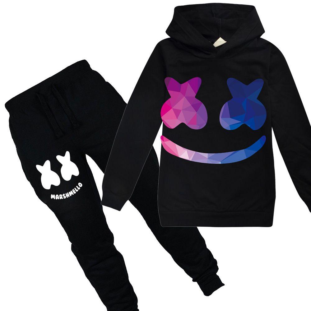 Pants Sets Sports Tracksuit MarshMello DJ 2pcs Kids Cosplay Casual Hoodie Tops
