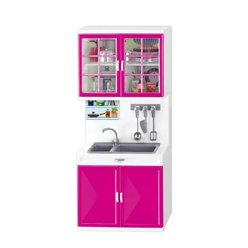 Mini Kids Girls Kitchen Pretend Play Cooking Set Simulation Home Appliances Cabinet Toys Gift