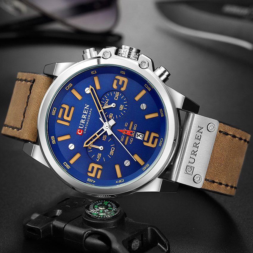 2b2c3a23264 Compre Venda Quente De Luxo CURREN Moda Pulseira De Couro De Quartzo Homens Relógios  Casuais Data De Negócios Masculino Relógios De Pulso Relógio Montre ...