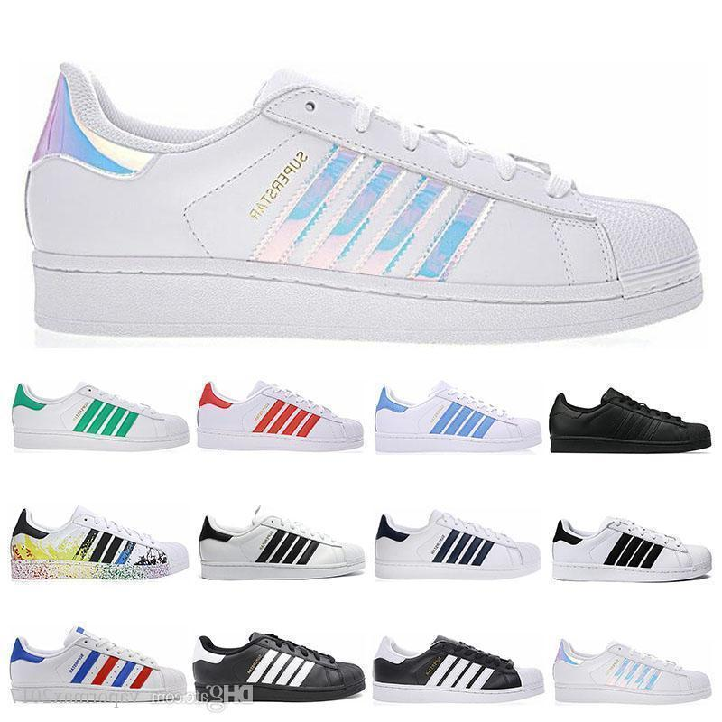 Moda Super Star Holograma blanco Iridiscente Junior Men Superstars 80s zapatillas de deporte Pride para mujer Entrenadores Superstar zapatos casuales 36-44