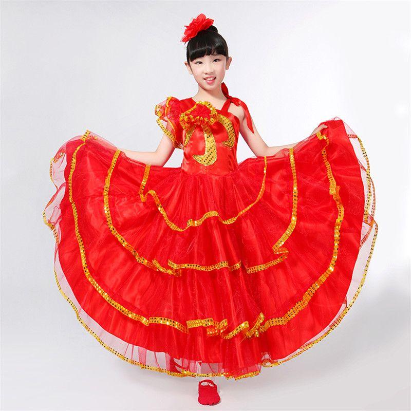 a84ed5df71 Compre Niños Flamenco Rojo Falda Larga Señorita Española Bailarina De  Flamenco Disfraz Disfraz Flamenco Español Vestidos De Baile Para Niña  DN3040 A  46.89 ...
