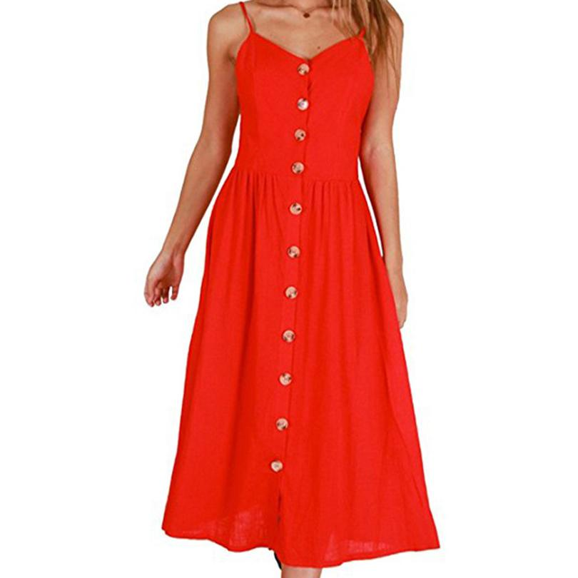 2019 3XL Plus Size Dresses Vintage White Red Button Backless Strap ...