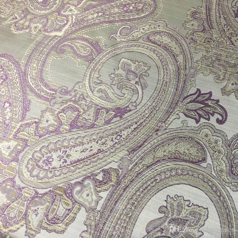 Brand New Vintage Paisley Sofa Chair 100 Polyester Jacquard Woven Upholstery Fabric Brown Purple 1meter Lot Drop Shipping