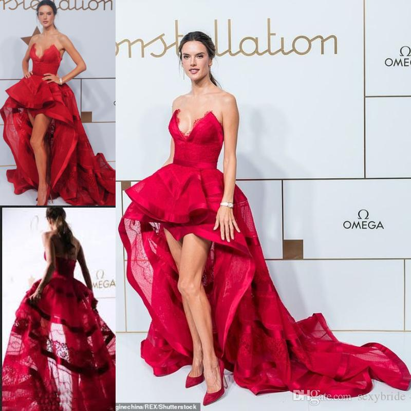 c3136562122 Charming Burgundy Lace Prom Dresses High Low Sexy Strapless V Neck Evening Dress  Long Train Ruffles Red Carpet Dress Celebrity Party Wear Peacock Prom Dress  ...