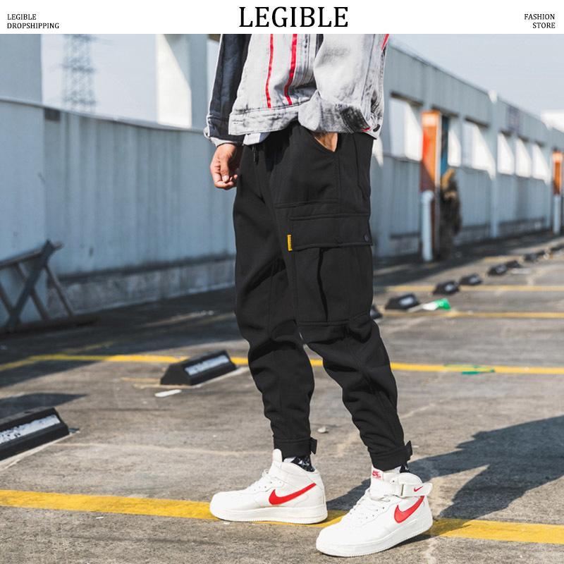 a04665889 2019 Legible Men Wool Black Joggers Pants Thick 2019 Mens Big Pockets Ankel  Cargo Pants Male Fall Streetwear Overalls Sweatpants C19040201 From  Linmei0006, ...
