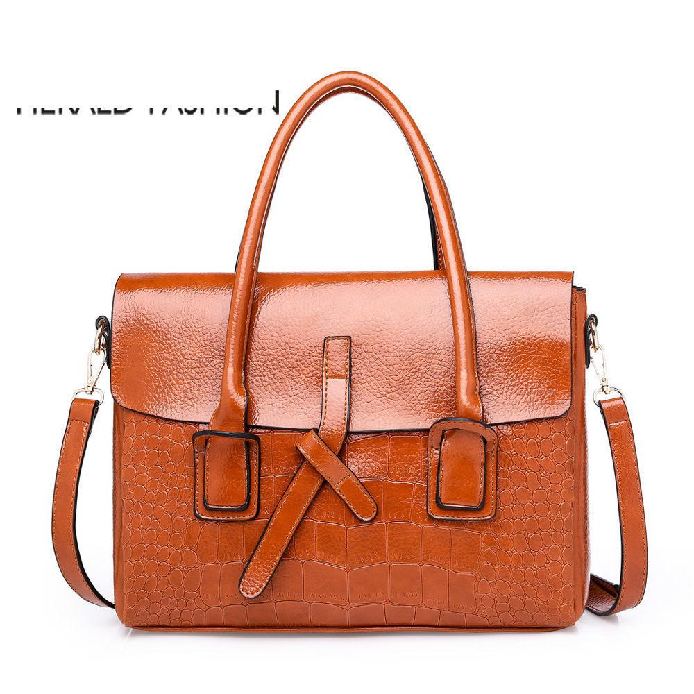 good quality Quality Women Alligator Leather Handbags Large Female Shoulder Bags Ladies' Office Briefcase Bolsas De Couro Sac