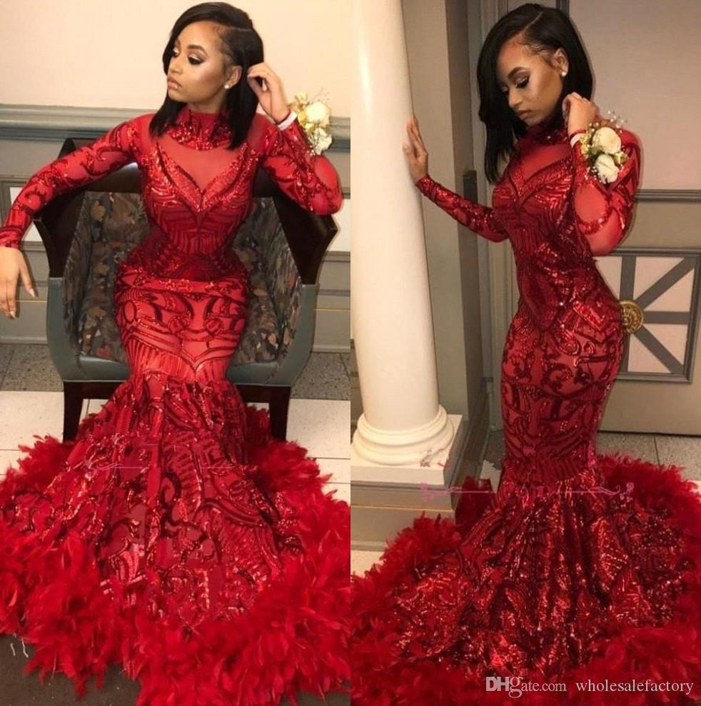 Red Lace Mermaid Long Prom Dresses 2019 Long Sleeves Sequins Applique Feather Sweep Train Formal Party Evening Wear Gowns BC1327