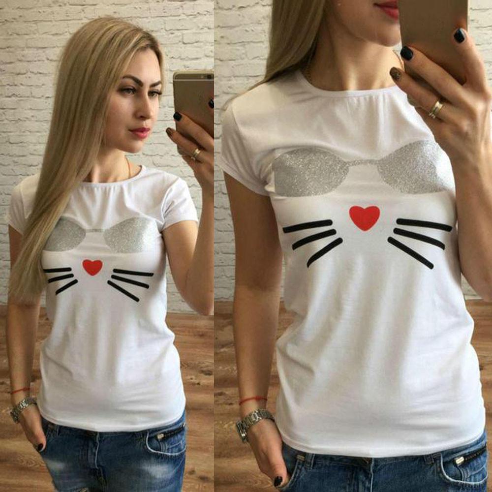 9afc4374b0 Fashion T-Shirt Women's Loose Short-Sleeved Cat Print Casual O-Neck Top  Tshirts Summer Casual Harajuku Femme camiseta feminina