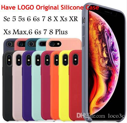 Have LOGO Original Silicone Case For IPhone XR XS Max For Apple IPhone 7 8 Plus Coque Official 6 6S Capa With Retail Box