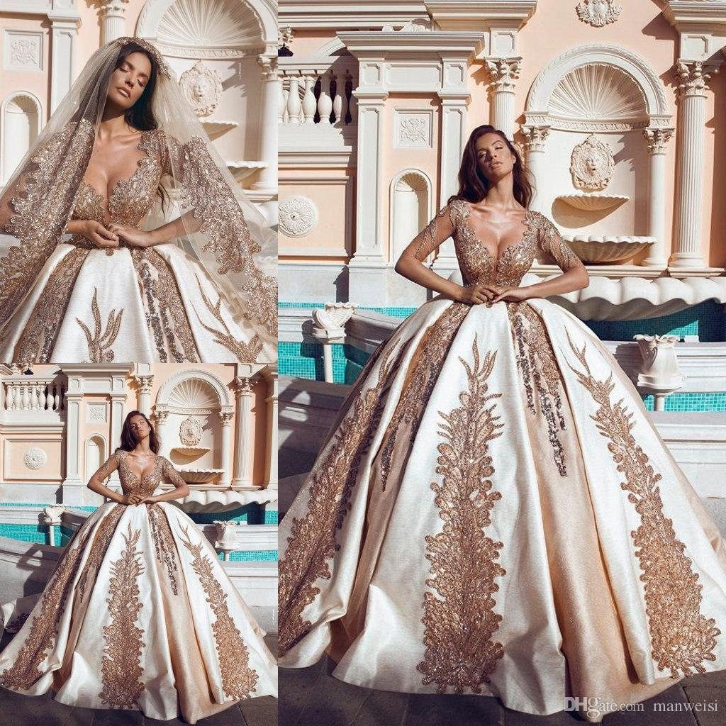 Luxury Vintage Lace Ball Gown Wedding Dresses 2019 Puffy Half Sleeve Sheer Neck Saudi Arabia Gold Beading Dress Bridal Gowns Amazing: Gold Gowns Wedding Dresses At Websimilar.org
