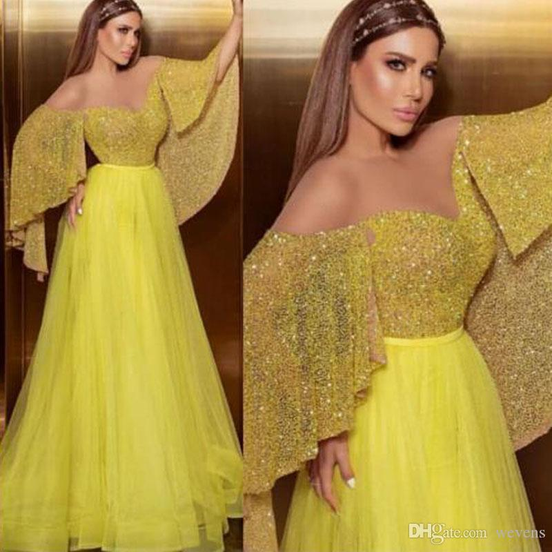 Newest Yellow Sheer Neck Arabic Dubai Prom Dresses Sequined Short Sleeve Tulle Skirt Evening Party Dress Pleat Skirt Long Cocktail Gown