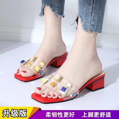 77e58ba5ef2 Designer Dress Shoes Fashion Women Block Heel Pumps Rhinestone Mid Heeled  Sandals Crystal Transparent Sexy Party Slides Peep Toe Penny Loafers Wedges  Shoes ...