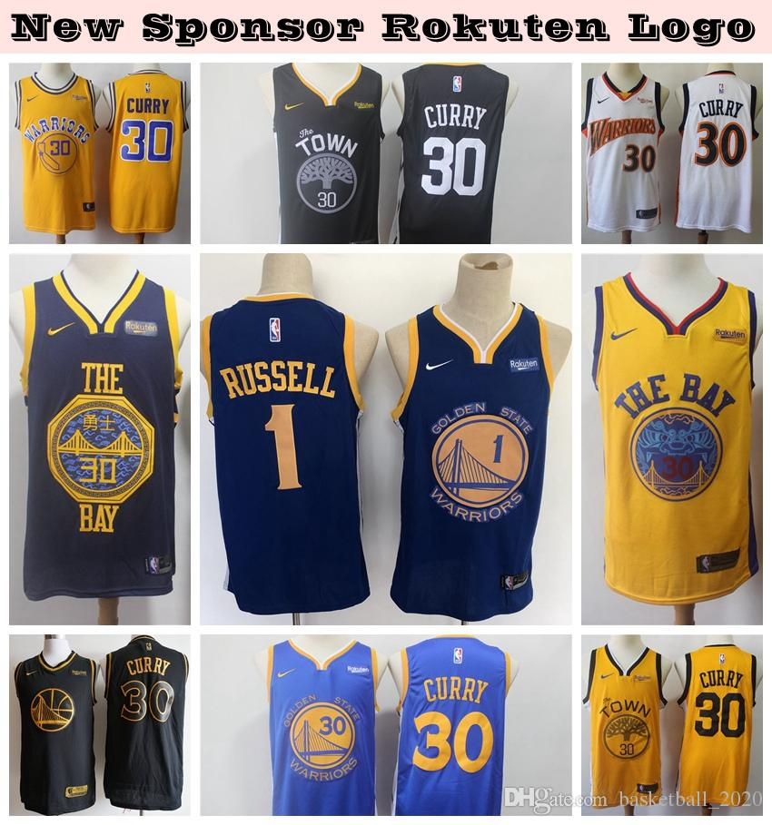 new product 4f839 19ba1 2020 New Mens Warrior New Sponsor Logo Authentic Swingman Jersey 1 DAngelo  Russell 30# Stephen Curry Basketball Jersey Stitched Embroidery