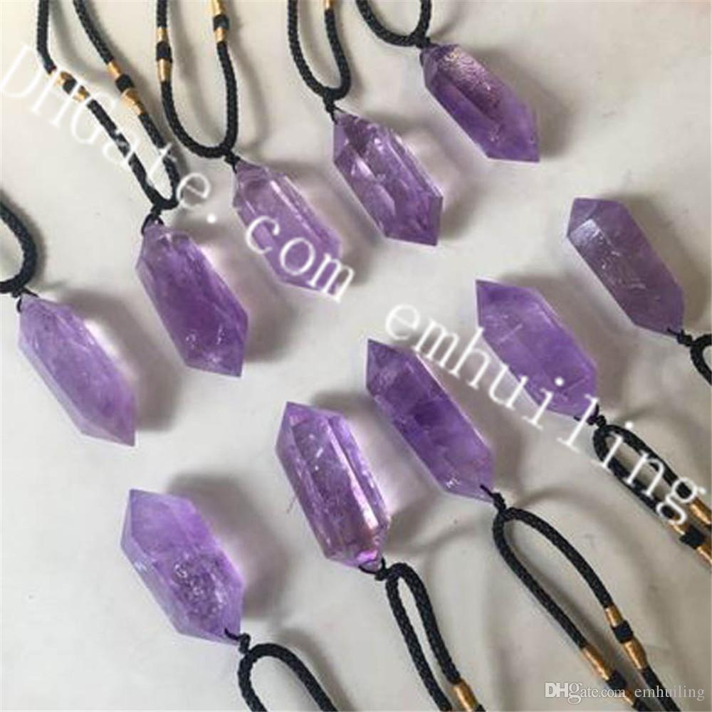 5a9ebc29a056b 10Pcs Double Terminated Amethyst Crystal Necklace 40-50mm Faceted Two Point  Natural Purple Amethyst Wand Pendant on Adjustable Rope Necklace