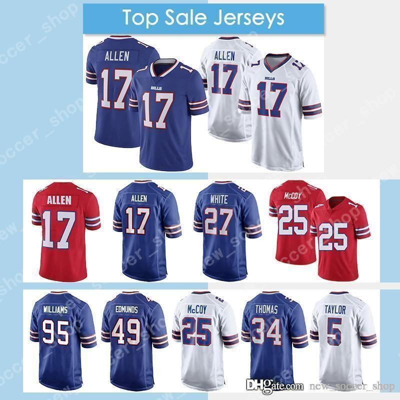 best cheap 0198a 60d00 17 Josh Allen Bills Jersey Buffalo 27 Tre'Davious White 25 Thomas Dareus 34  Thurman Thomas 49 Tremaine Edmunds 5 Taylor Football Jersey
