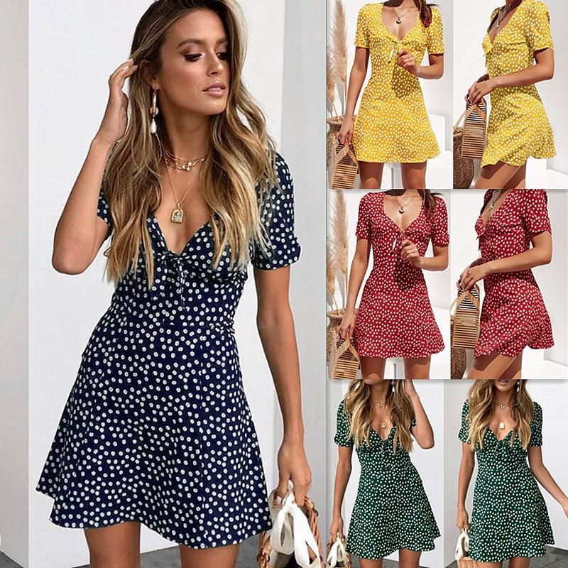 ee65edda455 Acheter Print Bow Haute Taille Mini Robes Femmes Manches Courtes Col En V  Dos Bouton Creux Taille Empire Casual Pull De  9.05 Du Hengytrade