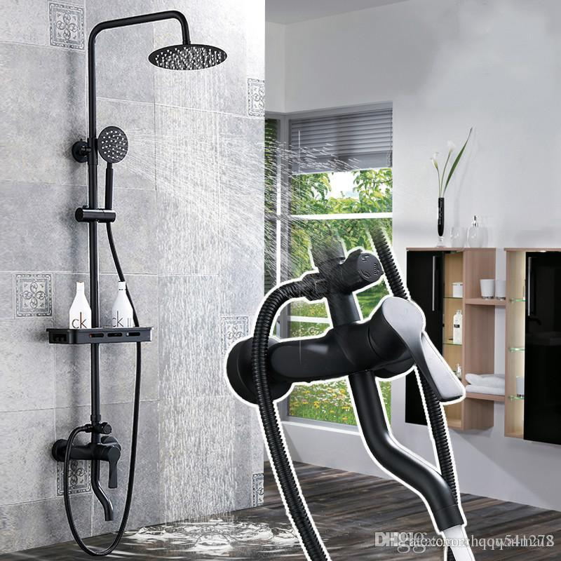 2019 Matte Black Rainfall Shower Faucet Set Single Lever Bathtub
