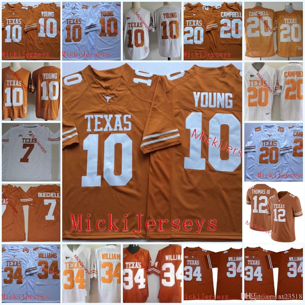 the latest a04e0 64716 Texas Longhorns Earl Thomas III Jerseys Shane Buechele Vintage #10 Vince  Young #20 Earl Campbell #34 Ricky Williams Texas Longhorns Jersey