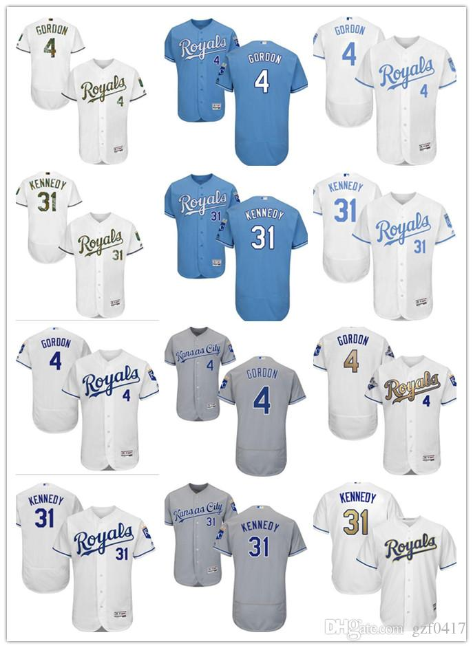 huge discount 3b272 6aaa2 custom Men's Women Youth Kansas City Royals Jersey #4 Alex Gordon 31 Ian  Kennedy Home Blue White Baseball Jerseys