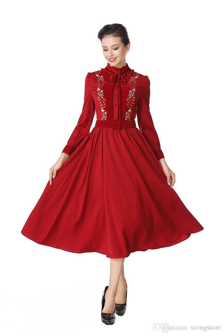 2019 Women Vintage Flower Embroidery Long Sleeve New Spring Wine Red Bow Puff Sleeve Stand Collar Slim Lady Dress With Sashes