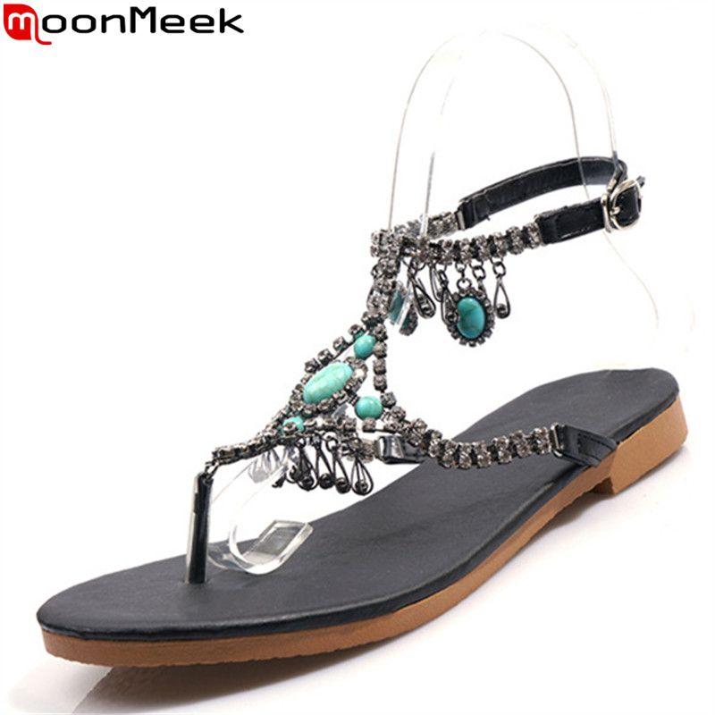 04ebebe77e7 MoonMeek 2019 new summer sandals women buckle Bohemia ladies shoes crystal  dress prom shoes Flip flops women sandals plus size