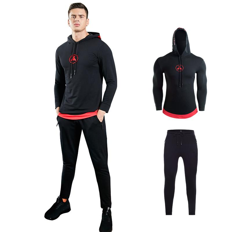 7f260e93db0 Hoodie Jackets Workout Clothes Suits Men s Gym Training Fitness ...