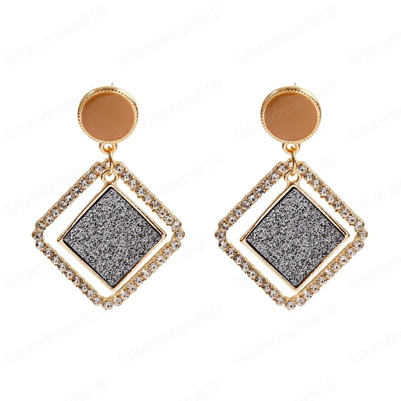 Korean Fashion Rhombus Earrings Trendy White CZ Wedding Personality Statement Earrings For Women Elegant Earring