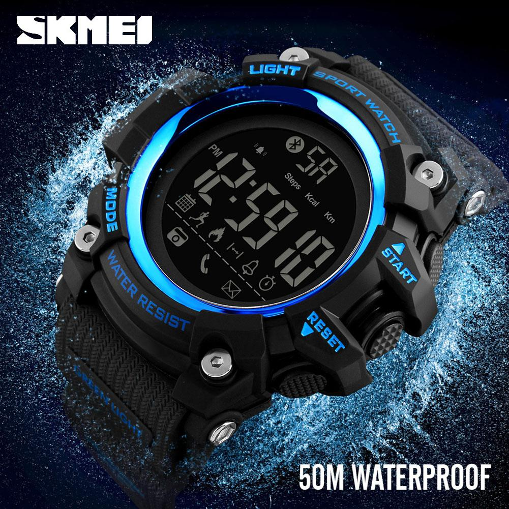 2019 SKMEI Fashion Men s Sports Smart Watch Waterproof BT Digital  Wristwatch 1385