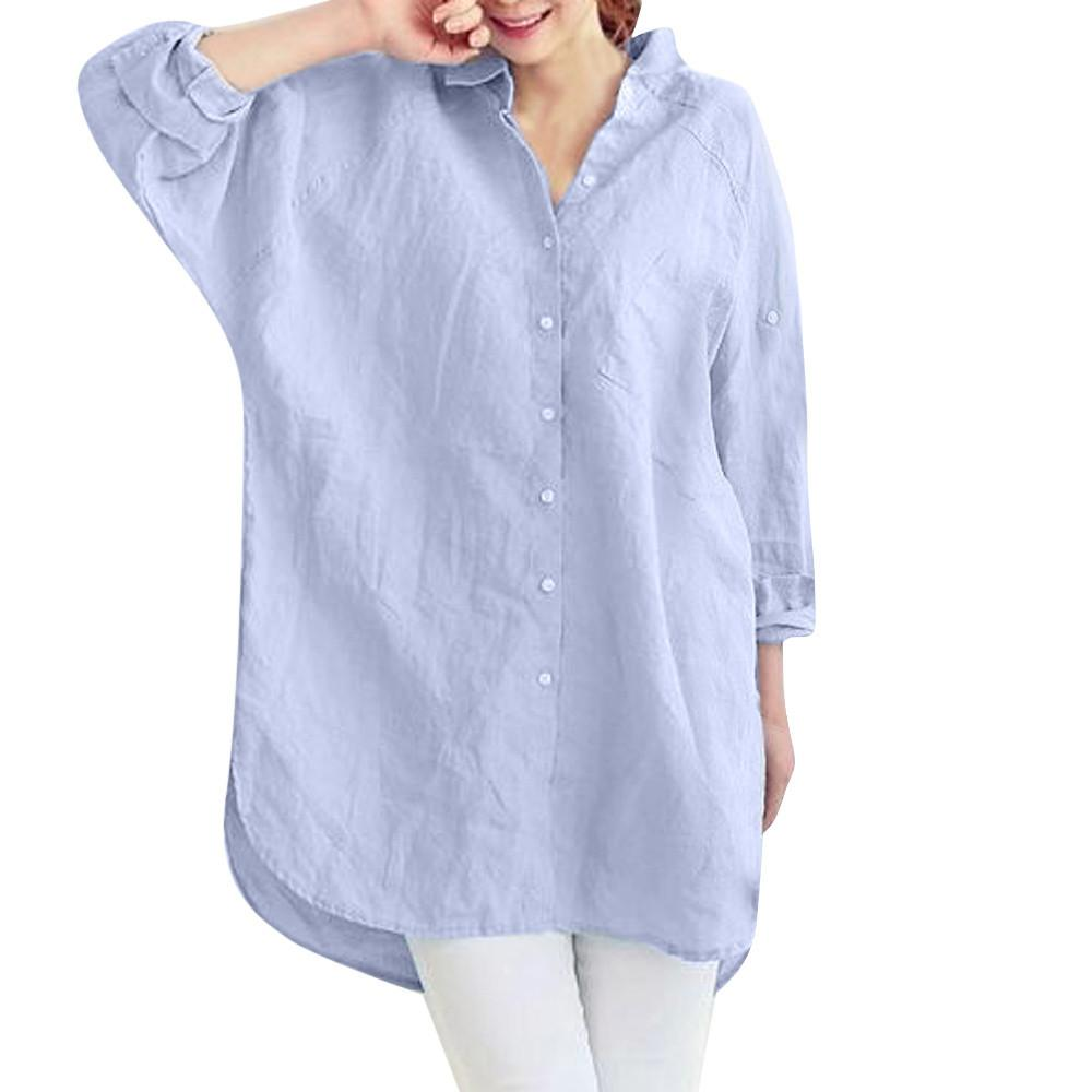 939e6ccac63e ISHOWTIENDA Women's Plus Size Solid Pocket Loose Casual Shirt Button Tops  Blouse Shirt Camisas Mujer Verano 2018 Female Blusas Blouses & Shirts Cheap  ...