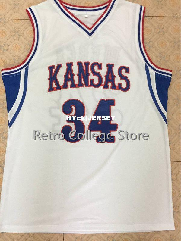 buy online 9cad1 fd6db #34 Paul Pierce Kansas Jayhawks white Blue Basketball Jersey Embroidery  Stitched Customize any name and name XS-6XL vest Jerseys NCAA
