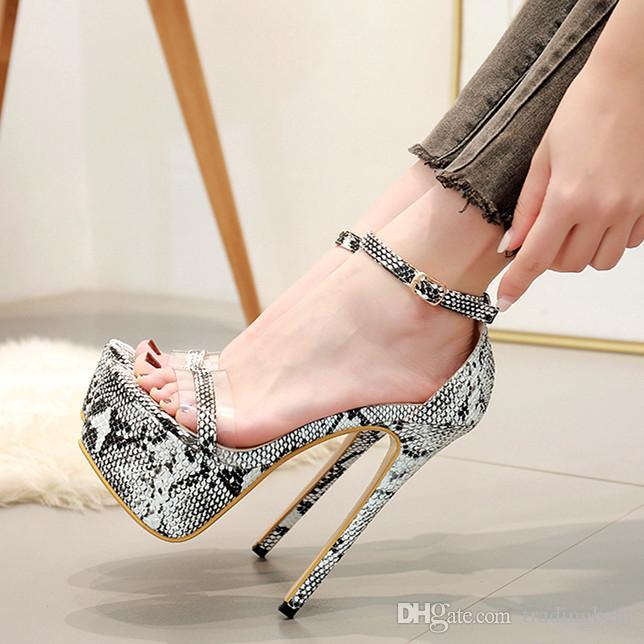1679e096b1b Plus Size 35 To 40 41 42 Sexy Animal Printed Ultra High Heels Women  Designer Pumps 16cm Sperry Shoes Silver Heels From Tradingbear