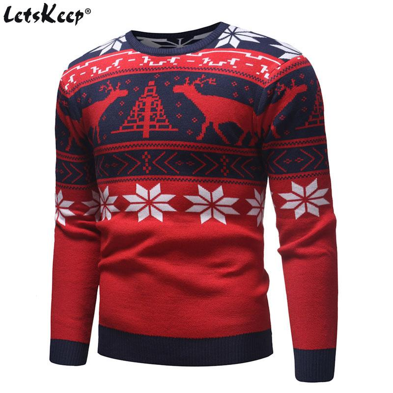 Christmas Sweaters For Men.Letskeep New Ugly Christmas Sweater Men Deer Printed Mens Pullover Sweaters Winter O Neck Christmas Clothes Men Eu Size Ma551
