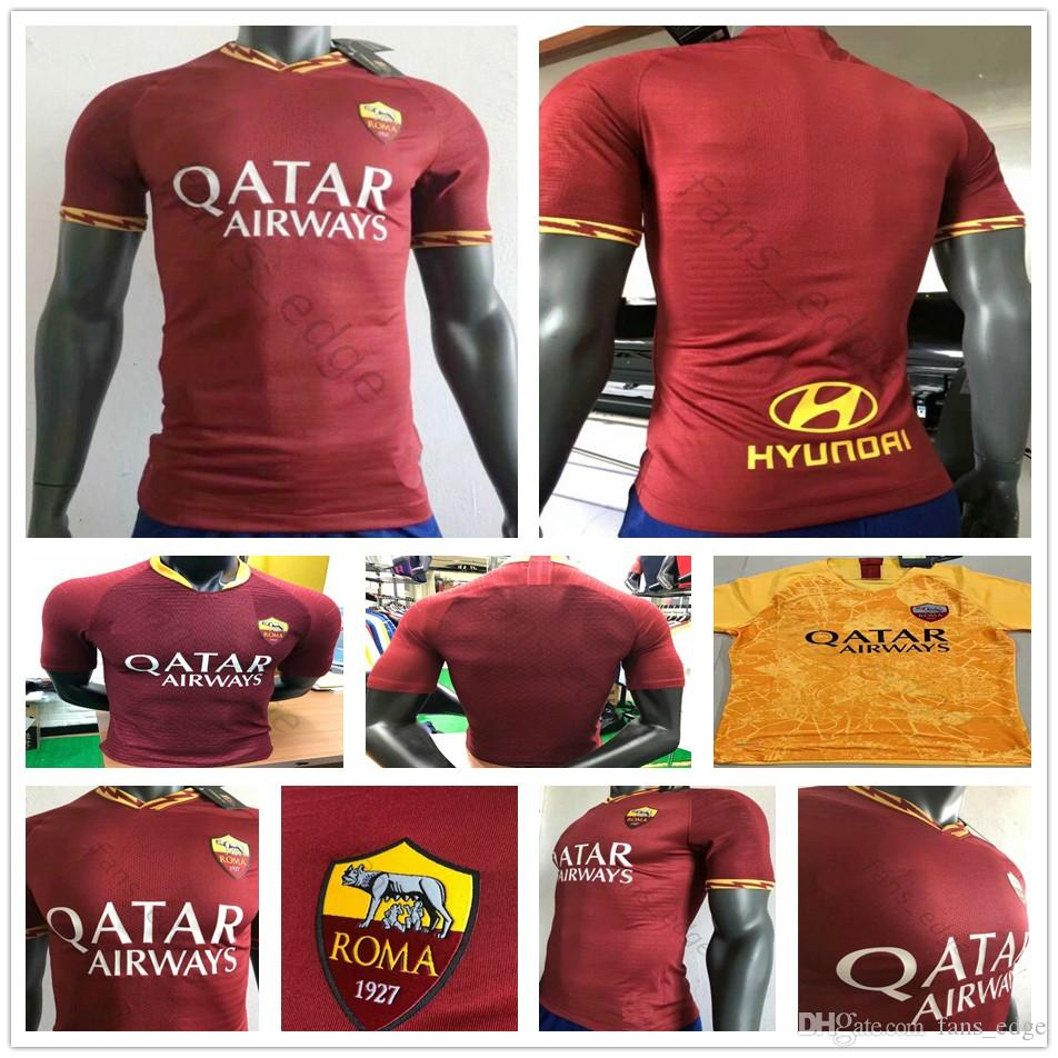 df61fc6a2 2019 Player Version 2019 2020 AS Roma Soccer Jerseys NAINGGOLAN DZEKO  PEROTTI DE ROSSI EL SHAARAWY PASTORE Custom Home Red Yellow Football Shirt  From ...