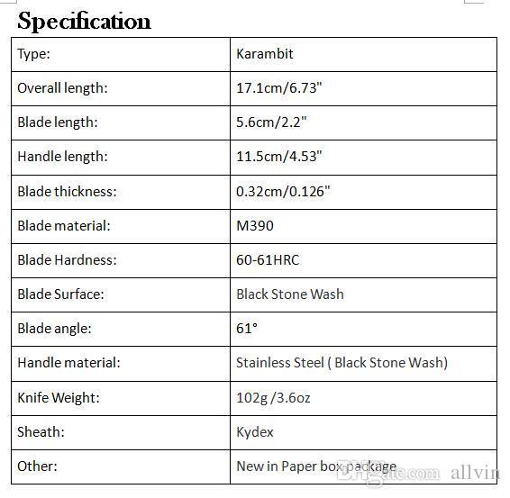 High End Caswell Facas Táticas Karambit Garra Faca M390 Lâmina de Lavagem De Pedra Preta Punho de Aço Inoxidável EDC Bolso Facas de Presente de Natal