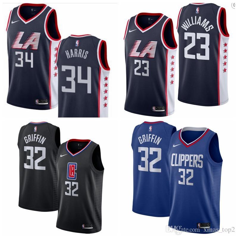 buy online 99c25 d712c 2019 New New City Jerseys Clippers Basketball Jerseys 23 Lou Williams 34  Tobias Harris 32 Blake Griffin Basketball Jerseys Black Blue