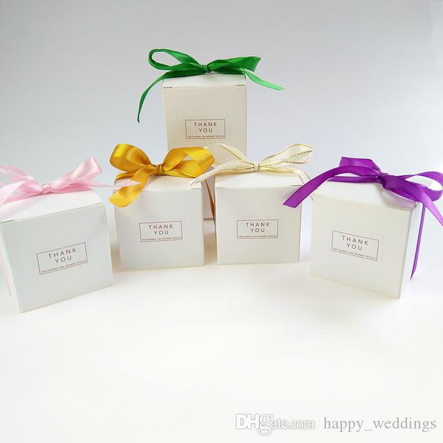 White 6x6x6CM Paper Gift Packing Box Gift Bags with Ribbon Wedding Favors Sweet Candy Boxes Birthday Party Decorations Gift Box