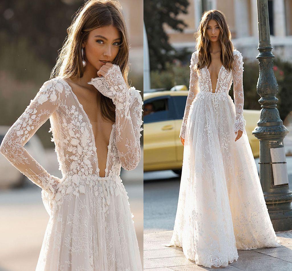Discount Elegant Deep V Neck Wedding Dresses Sexy Backless A Line 3d