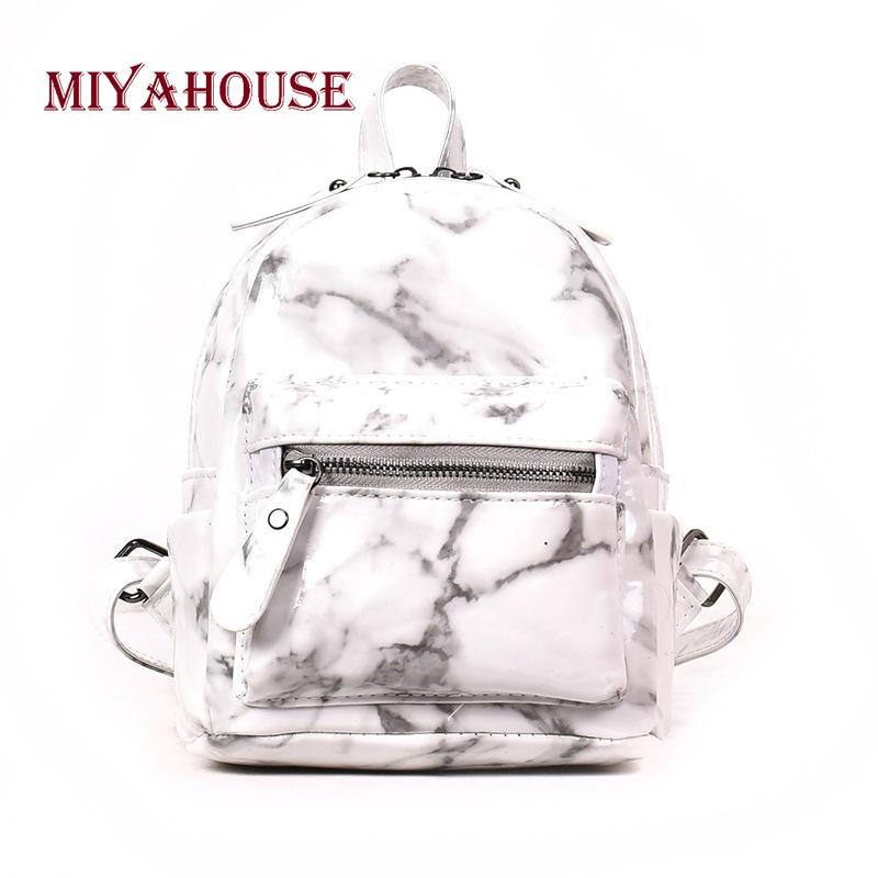 4f3ecf4850fc 2019 FashionMiyahouse New Arrival Marble Design Small Backpacks Women Hit  Color Mini Shoulder School Bags For Girls Travel Rucksack Wheeled Backpacks  ...