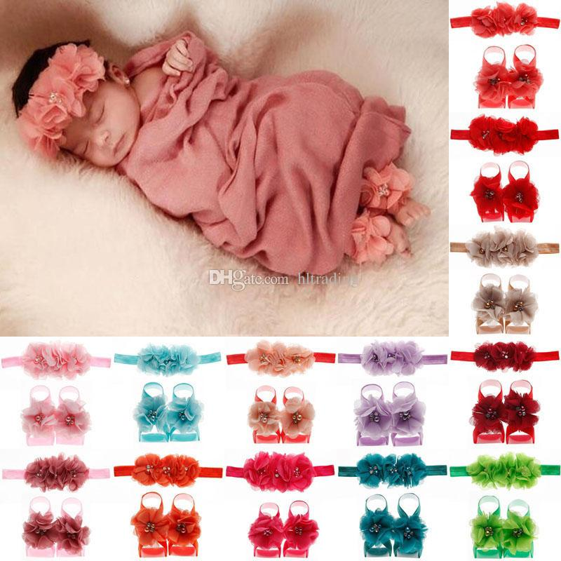 Baby Headbands Foot flower sets Newborn Toddler Chiffon Rhinestone Head flower 2019 infant Photography props first walker Shoes C5721