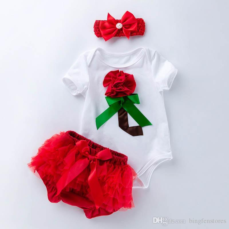 0-2t 3D floral Newborn Outfits Girl Suit newborn baby girl clothes baby romper+lace PP Ruffle Shorts+bows headband baby designer